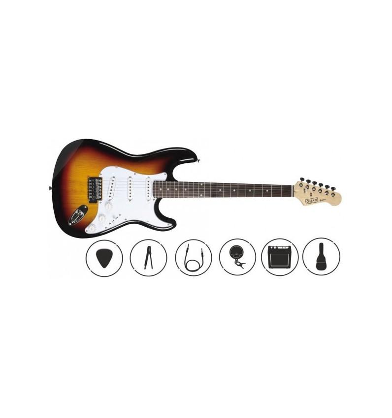 Pack de guitarra eléctrica Oqan Stratocaster QGE-ST25 SB